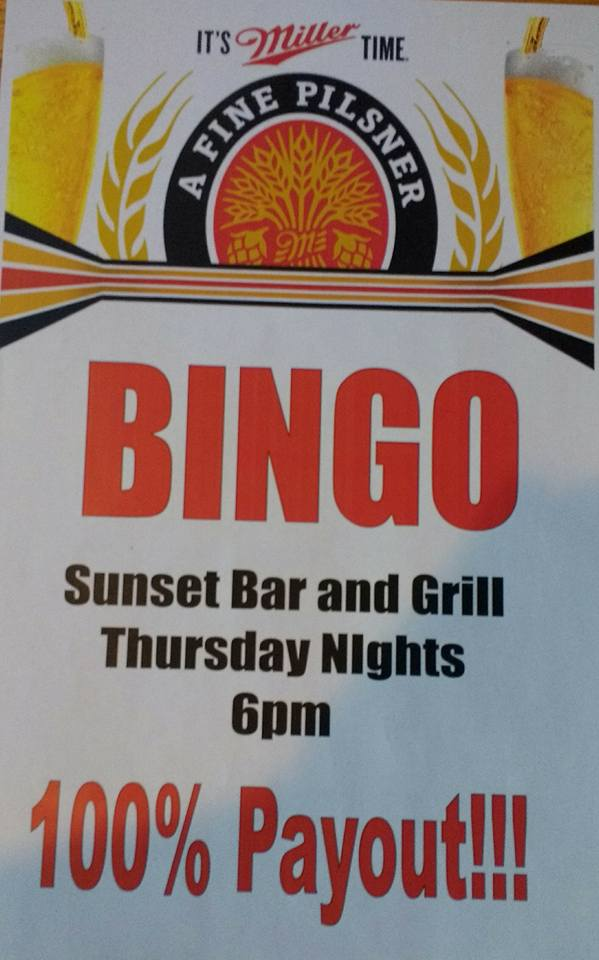 Bingo at Sunset Bar and Grill @ Sunset Bar & Grill